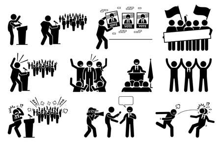 Politic candidate rally during presidential election campaign. Vector illustration of a president or prime minister giving speech and supporters giving supports to their political party. 矢量图像