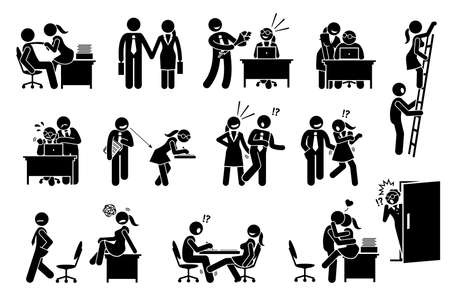 Office love affair and flirting relationship between co workers. Vector illustration of company employee seducing other colleague and harassment in workplace.