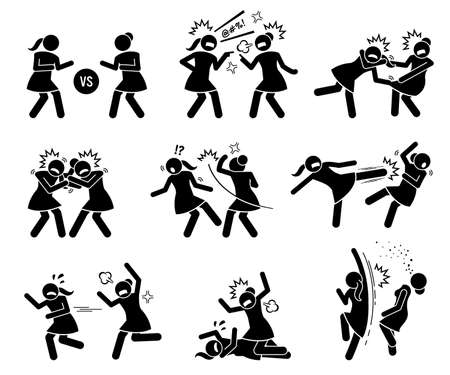 Girls fighting in a cat fight stick figure. Vector illustrations of woman or female arguing, punching, kicking, and slapping in catfight.