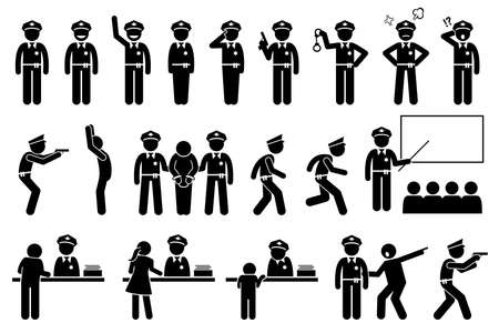 Police officer or policeman poses and actions. Vector illustrations of stick figure police arresting criminal and handcuffed law offender. People reporting at police station.