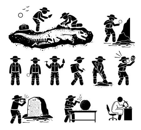 Paleontologist scientist digging dinosaur bone fossil and discover ancient artifact illustrations. Vector cliparts of paleontology, archaeology, and anthropology scientific research and career.