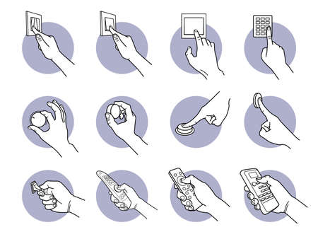 Hand pressing, turning, pushing, and flipping switch button. Vector illustrations of a hand controlling and adjusting electrical device with wall switch, dial button, knob, flip and remote controller.