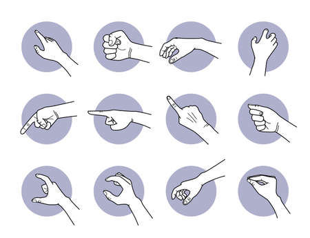 Hand pointing and grabbing gestures. Vector illustrations of hand poses and actions of showing direction, pointing the way, and taking things.