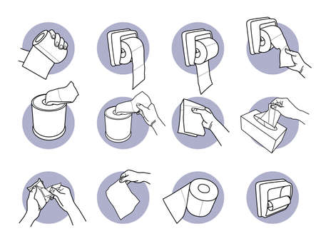 Hand holding and using toilet paper and tissue. Vector illustrations of hand holding, pulling, and getting toilet paper from holder. Finger grabbing a tissue paper from box and package.