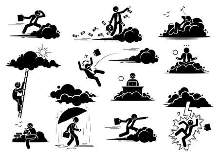 Businessman working in the cloud or sky. Vector illustrations of a business man flying, throwing money, resting, working, and reading on a cloud. Bad luck person struck by lightning or thunder.