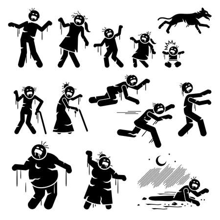 Zombie family and infected stick figures character design. Vector illustrations of father, mother, children, baby, pet dog, old people becoming infected zombie funny illustration.