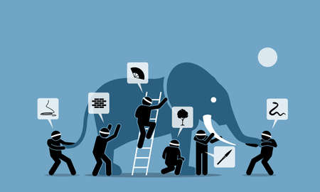 Six blind men touching an elephant. Vector illustrations depict six blindfolded people with different perceptions, impressions, ideas, opinions, beliefs, and interpretation towards an elephant.