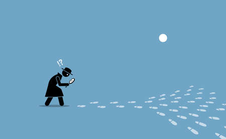 Detective having problem searching for the source of location with scattered footprints. Vector illustration concept of ambiguity, confusion, issue pin pointing direction, elusive, and unclear.