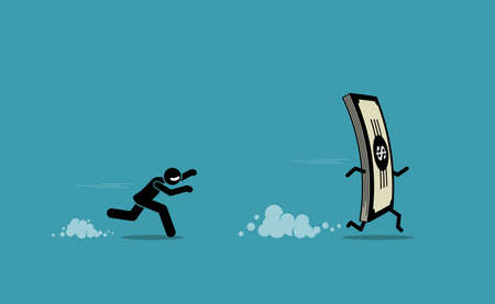 Man running and chasing after a run away money. Vector illustration concept of money obsession, impatient, and greedy. Иллюстрация