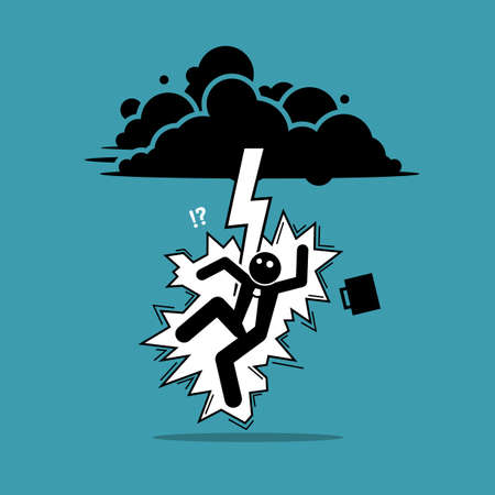 Businessman struck by lightning or thunder from the dark cloud. Vector illustration concept of bad luck, misery, unfortunate, unlucky, disaster, risk, and danger.