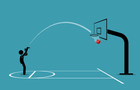 Man shooting a basketball into a hoop and scoring from free throw line. Vector illustration concept of accurate, precise, skillful, objective, and practice makes perfect.