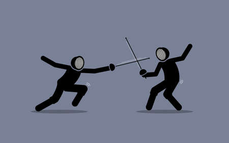 Two fencers fighting in a fencing sport game. Vector illustration concept of fencing, duel, competition, rival, opponent, warrior, versus, and combat.