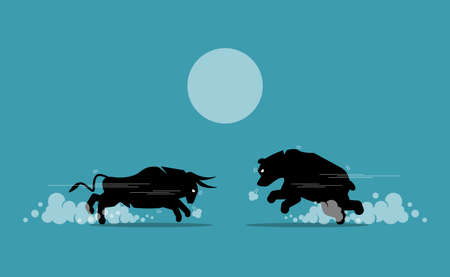 Bull and bear face off in stock market exchange. Vector illustration concept of bullish and bearish market competing, share market trend, and financial equity investment.
