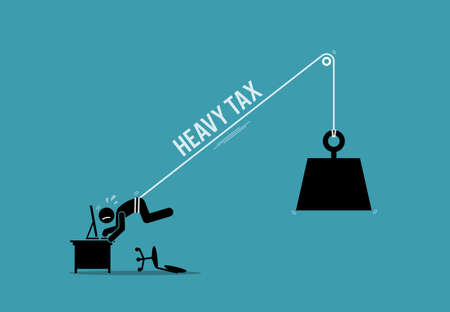 Working taxpayer man being tied up by the burden of heavy tax. Vector illustration concept of heavy tax burden, financial restriction, business oppression, and excessive debt.