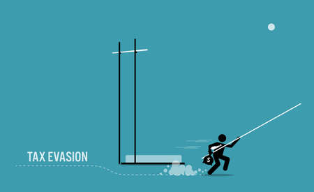 Taxpayer with money side stepping and running away from pole vault high bar to avoid paying tax. Vector illustration concept of tax avoidance, evasion, tax exemption, and escaping audit. Иллюстрация