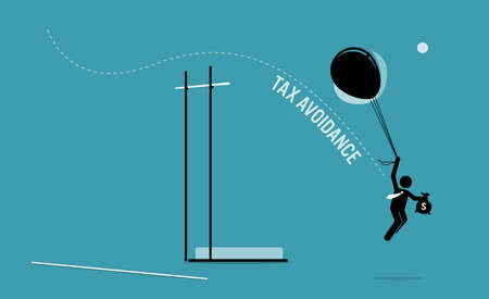 Taxpayer with money flying over a pole vault high bar with balloons to avoid paying tax. Vector illustration concept of tax avoidance, evasion, tax exemption, and escaping audit. Иллюстрация