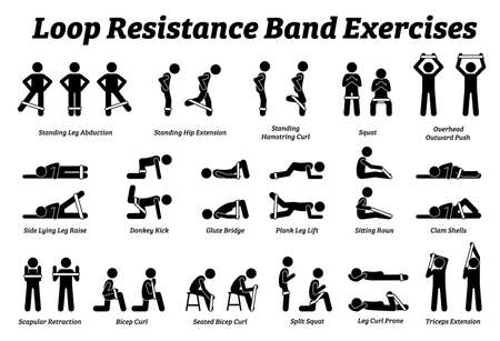 Loop resistance mini band exercises and stretch workout techniques in step by step. Vector illustrations of stretching exercises poses, postures, and methods with loop resistance band.