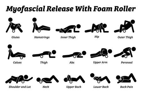 Myofascial release with foam roller physical therapy techniques for different body parts. Vector illustrations pictogram of myofascial release workout exercise by rolling the body with a foam roller.
