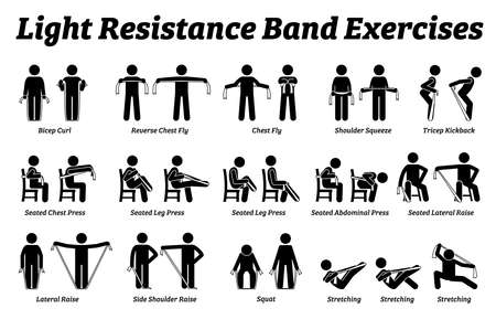 Light resistance band exercises and stretch workout techniques in step by step. Vector illustrations of stretching exercises poses, postures, and methods with resistance band. Иллюстрация