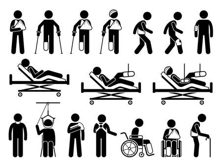 Orthopedics medical products support for pain and body injury due to accident. Icons are hospital bed, plaster cast, broken arm cast sling, backache belt, knee guard protector, wheelchair, and splint. Vector Illustration