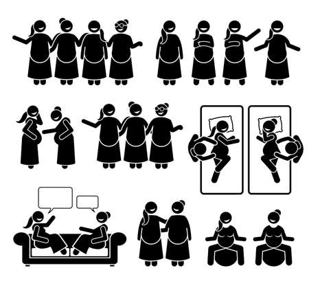 Pregnant mother group and friends together. Vector illustration stick figure of happy women supporting each other during pregnancy. They are relax and feeling positive. Иллюстрация