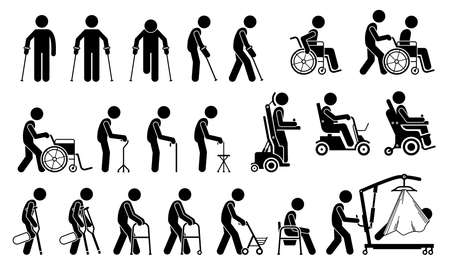 Mobility aids medical tools and equipment stick figure pictogram icons. Artwork signs symbols depicts man walking with crutches, wheelchair, cane, electric wheelchair, power scooter, and walker.