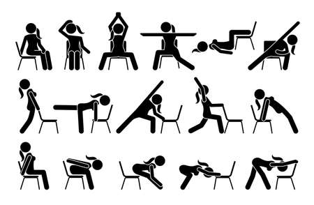 Chair yoga exercises stick figure pictogram icons. Vector illustrations of chair yoga postures, poses, and workout for beginners. Иллюстрация