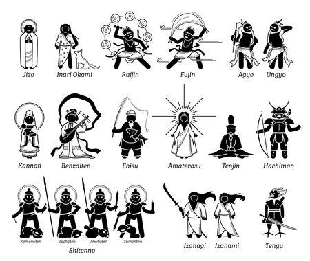 Japanese Kami God Goddess Deities stick figure icons. Vector illustration of Japan popular gods lords Jizo, Inari Okami, Raijin Fujin, Agyo Ungyo, Kannon, Benzaiten, Amaterasu, Shitenno, and Hachiman. Иллюстрация