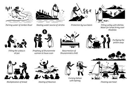 Miracles by prophet Elisha in Christian bible biblical God story from the Old Testament. Vector illustrations list of miracles done by prophet Elisha part 1 of 2.