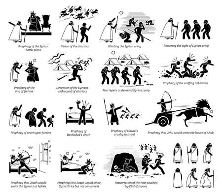 Miracles by prophet Elisha in Christian bible biblical God story from the Old Testament. Vector illustrations list of miracles done by prophet Elisha part 2 of 2. Иллюстрация