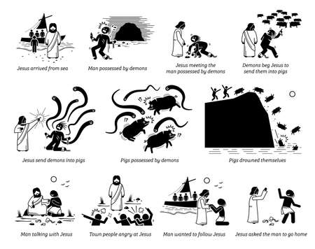 Exorcism of the Gerasene demoniac by Jesus Christ in bible story new testament. Vector illustrations artworks of miracle of the Gadarene swine and the exorcism of Legion. Vektoros illusztráció