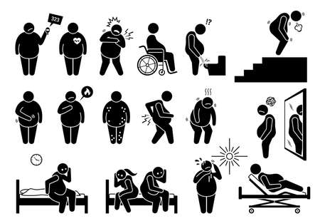 Symptoms of obesity, physical health problem and complications from overweight. Vector illustrations depict fat and obese problems that impact a person quality of life, physical and mental issue.