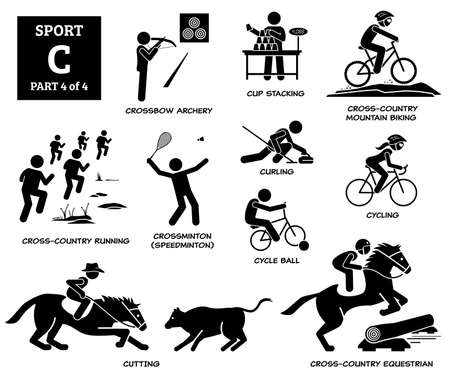 Sport games alphabet C vector icons pictogram. Crossbow archery, cup stacking, cross country mountain biking, running, crossminton speedminton, cycle ball, curling, cycling, cutting, and equestrian.
