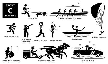 Sport games alphabet C vector icons pictogram. Canicross, coastal rowing, capture flag, clay pigeon shooting, clean jerk, clout archery, canoe polo, chuckwagon, car ice racing, and canopy piloting.