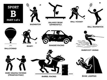 Sports games alphabet B icons pictogram.