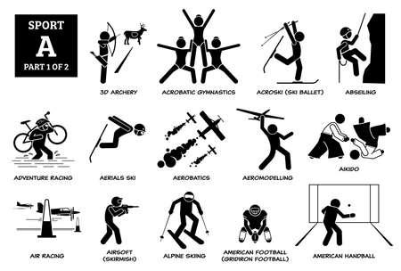 Sports games alphabet A icons pictogram.