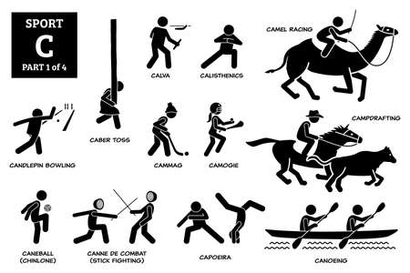 Sports games alphabet C icons pictogram.