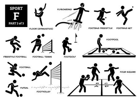 Sport games alphabet F vector icons pictogram. Floor gymnastic, flyboarding, footbag freestyle, net, freestyle football, football tennis, footgolf, footpool, futsal, footvolley, and four square.