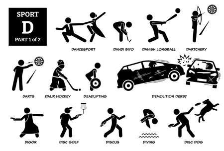 Sports games alphabet D icons pictogram.
