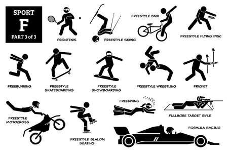 Sports games alphabet F icons pictogram. Иллюстрация