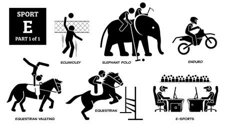 Sports games alphabet E icons pictogram.