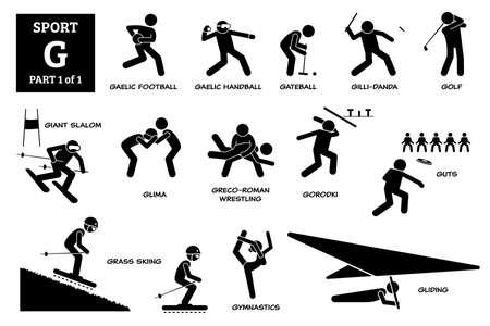 Sport games alphabet G vector icons pictogram. Gaelic football, handball, gateball, gillidanda, golf, giant slalom, glima, greco-roman wrestling, gorodki, guts, grass skiing, gymnastics, and gliding.