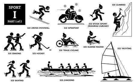 Sport games alphabet I vector icons pictogram. Ice cross downhill, speedway, stock sport, Bavarian curling, climbing, dancing, ice hockey, track cycling, sledge racing, skating, canoeing, and yachting