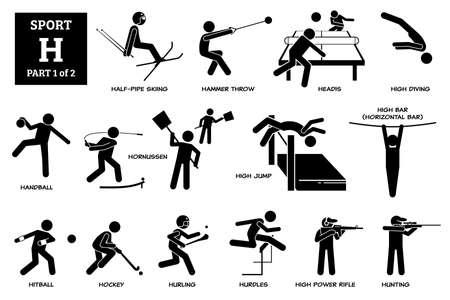 Sport games alphabet H vector icons pictogram. Half-pipe skiing, hammer throw, headis, high diving, handball, hornussen, high jump, horizontal high bar, hitball, hockey, hurling, hurdles, and hunting.