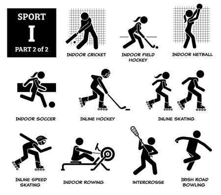 Sport games alphabet I vector icons pictogram. Indoor cricket, field hockey, netball, indoor soccer, inline hockey, inline skating, speed skating, rowing, intercrosse, Irish road bowling.