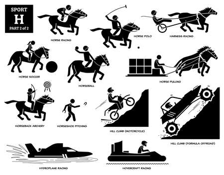 Sport games alphabet H vector icons pictogram. Horse racing, polo, soccer, harness racing, horseball, horseback archery, pitching, hill climb motorcycle, formula offroad, hydroplane, and hovercraft. Иллюстрация