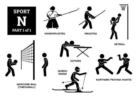 Sport games alphabet N vector icons pictogram. Naginatajutsu, ninjutsu, netball, novuss, newcomb ball, throwball, nordic skiing, and northern praying mantis.
