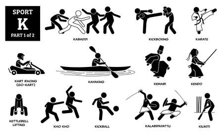 Sport games alphabet K vector icons pictogram. Kabaddi, kickboxing, karate, kart racing, go-kart, kayaking, kemari, kendo, kettlebell lifting, kho kho, kickball, kalaripayattu, and kilikiti.