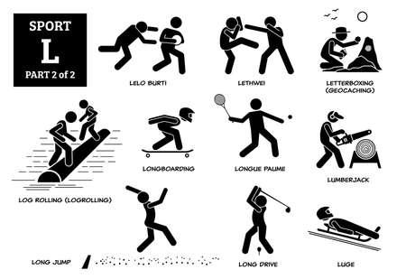 Sport games alphabet L vector icons pictogram. Lelo burti, lethwei, letterboxing, geocaching, log rolling, logrollling, longboarding, longue paume, lumberjack, long jump, long drive, and luge. Иллюстрация