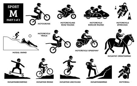Sport games alphabet M vector icons pictogram. Motocross, motorcycling road racing, sidecar, gymkhana, mogul skiing, motorcycle trials, speedway, mounted orienteering, moutainboarding, and motoball. Иллюстрация